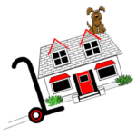 a move made easy dog on house moving logo